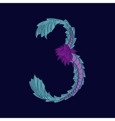 Abstract number 3 logo icon in blue tropical vector