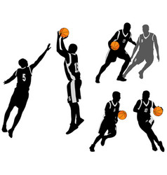 basketball players silhouettes collection 2 vector image