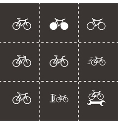 black bicycle icon set vector image vector image