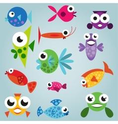 Cartoon sea fish set vector