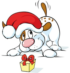 Cute dog with santa hat and gift - vector image