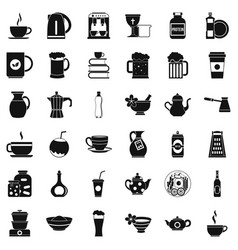 dishes icons set simple style vector image