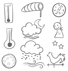 Doodle of weather set collection vector