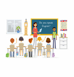 English lesson at school - cartoon people vector