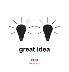 Exellent idea lamp icon vector image