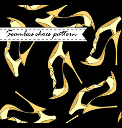 Fashion female summer shoes seamless pattern on vector