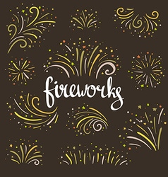 Hand drawn colorful fireworks on dark background vector image