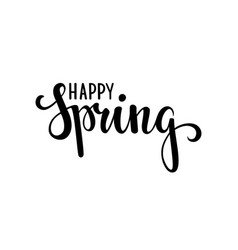 Happy spring hand drawn calligraphy and brush pen vector