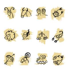 Horoscope zodiac star signs set vector