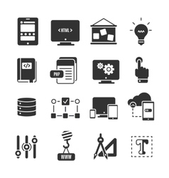 Icon Set Of Programm Development vector image