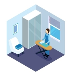 Ironing Of Clothes Isometric Composition vector image vector image