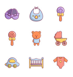 Kid toys icons set flat style vector