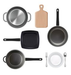 kitchen utensils top view vector image