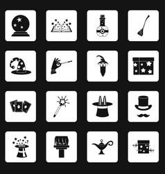 Magic icons set squares vector