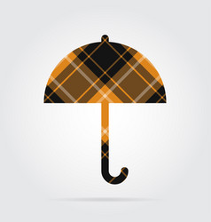 Orange black tartan isolated icon - umbrella vector