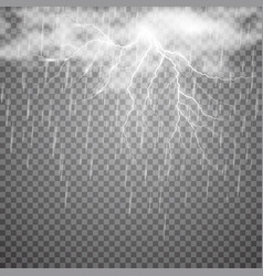 realistic lightning with rain and cloud on vector image vector image