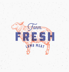 retro print effect farm fresh lamb meat abstract vector image vector image