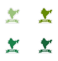 Set of paper stickers on white background India vector image vector image