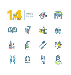 Tattoo studio - thick line icons set vector