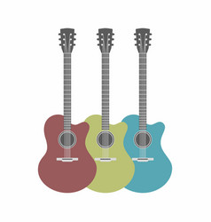 Three acoustic guitars set isolated on white vector