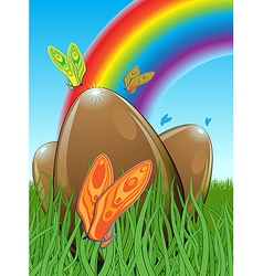 Three chocolate easter eggs vector image