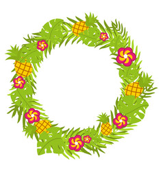 Tropical floral circle with pineapple and red vector