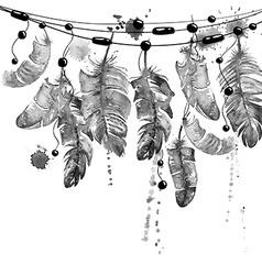 Watercolor hanging bird feathers vector