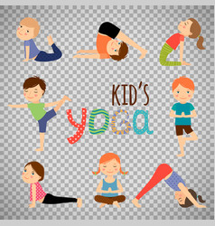 yoga kids set on transparent background vector image