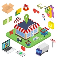Flat 3d web isometric e-commerce electronic vector