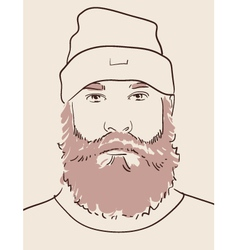 Man with beard and mustache vector
