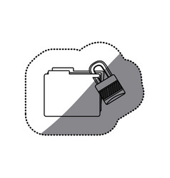 Sticker silhouette folder with paclock closed vector