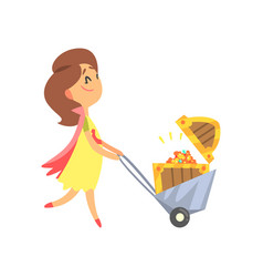 Cute cartoon woman pushing the cart with the vector