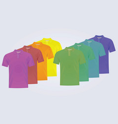 eight polo shirts with different colors vector image