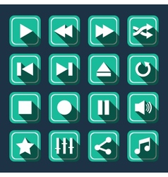 Emerald multimedia icons with long shadow vector