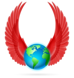 Globe with red wings on white vector