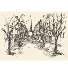 Streets paris france vintage engraved hand drawn vector