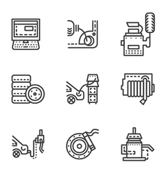 Car service simple line icons vector
