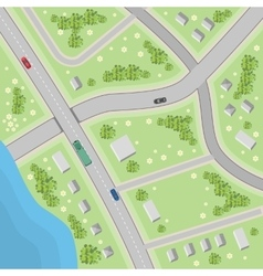 Map with driving directions top view vector