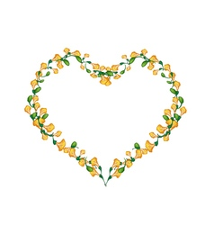 Beautiful yellow padauk flowers in heart shape vector