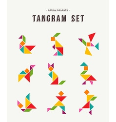 Tangram set creative art of colorful animal shapes vector