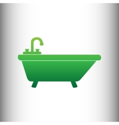 Bathtub sign green gradient icon vector