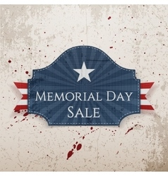 Memorial day sale realistic poster and ribbon vector