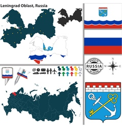 Map of Oblast of Leningrad vector image