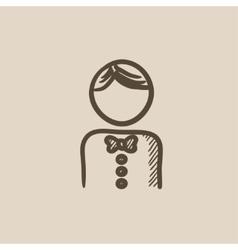 Waiter sketch icon vector