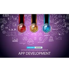 App Development Concept Background with Doodle vector image