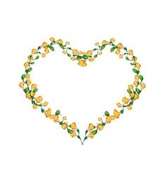Beautiful Yellow Padauk Flowers in Heart Shape vector image vector image