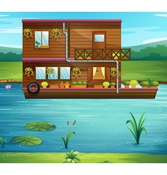 Boat house floating on the river vector