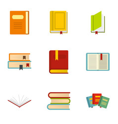 books icons set flat style vector image vector image