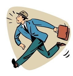 Businessman runn late business people concept vector