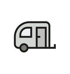 camping trailer icon on white background vector image vector image